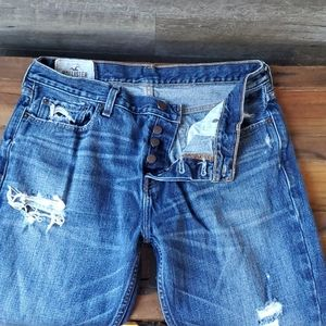 Hollister Mens Distressed button fly jeans
